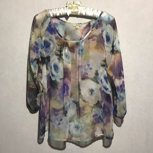 🍁Lily White sheer floral blouse, Small